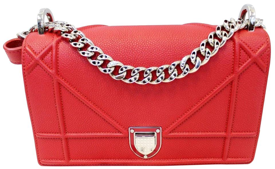 9220eec3697c Dior Christian Diorama Flap Red Grained Leather Small Shoulder Bag ...