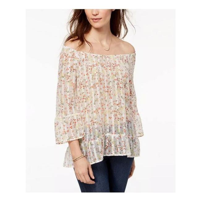 Item - Ditsy Daydream Ruffled Off The Shoulder Blouse Size 16 (XL, Plus 0x)