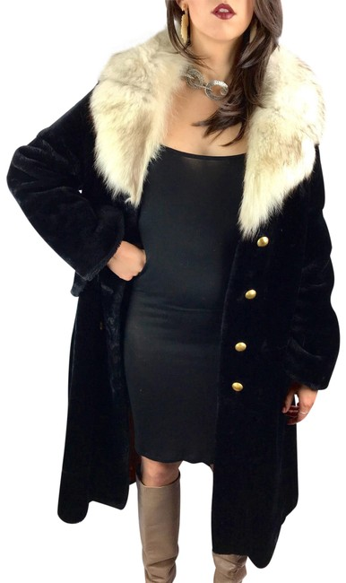 Item - Black 1950's with Fox Collar Coat Size 12 (L)