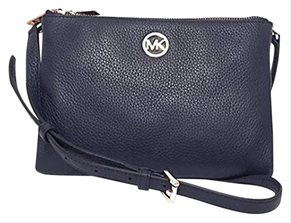 9fe282af8454 Michael Kors Fulton Signature Ew Navy Leather Cross Body Bag - Tradesy