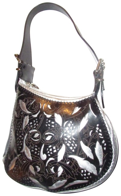 Item - Large 'oyster' Style Shoulder Purse Silver Leather and Laser Cut Tooled and Whip- Stitched Black Leather Hobo Bag