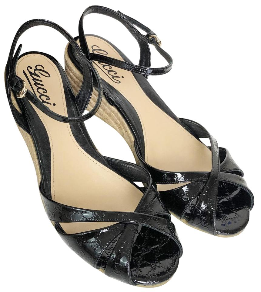 289027dbcf0b Gucci Black Micro Guccissima Penelope Wedge Espadrille Sandals Size ...