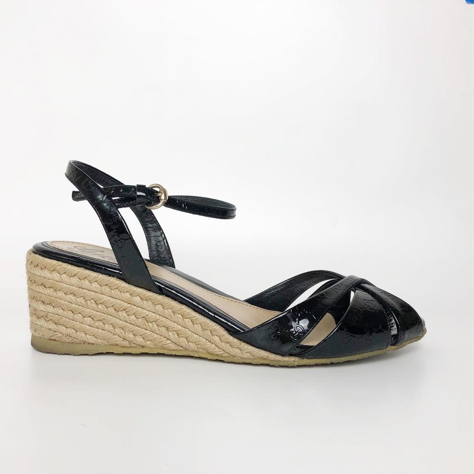 1fbfdbcfb7c1 Gucci Black Micro Guccissima Penelope Wedge Espadrille Sandals Size EU 36.5  (Approx. US 6.5) Regular (M