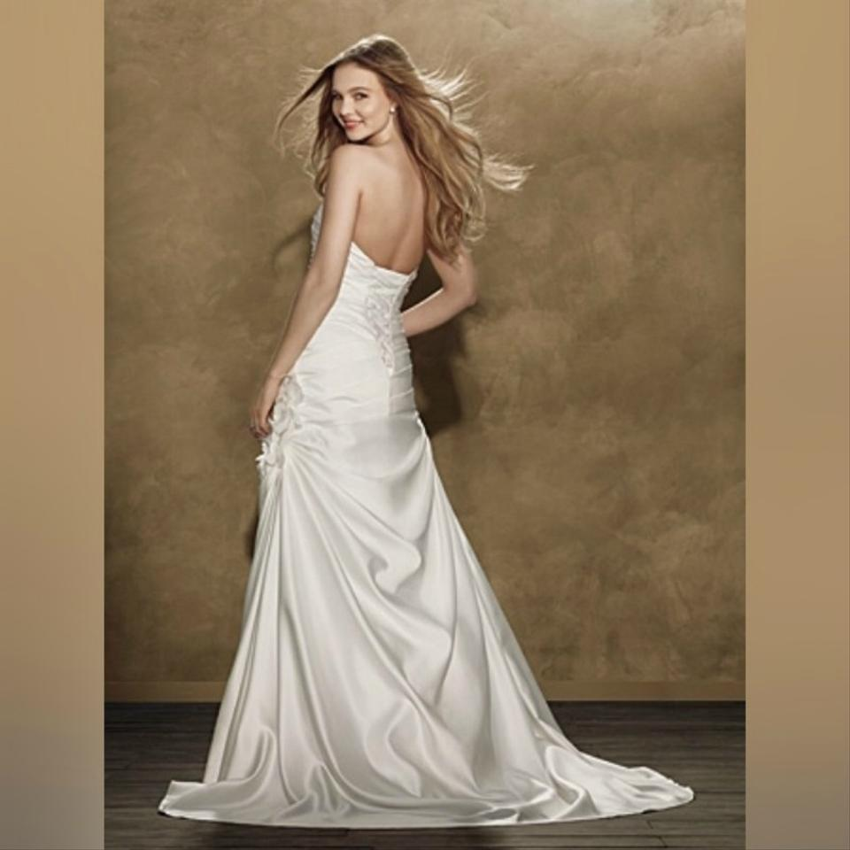 Alfred Angelo: Alfred Angelo White Floral Accented Fit And Flare Designer