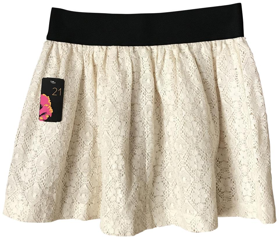 ddb7ac911e Forever 21 Black/Cream Lace Skirt Size 8 (M, 29, 30) - Tradesy