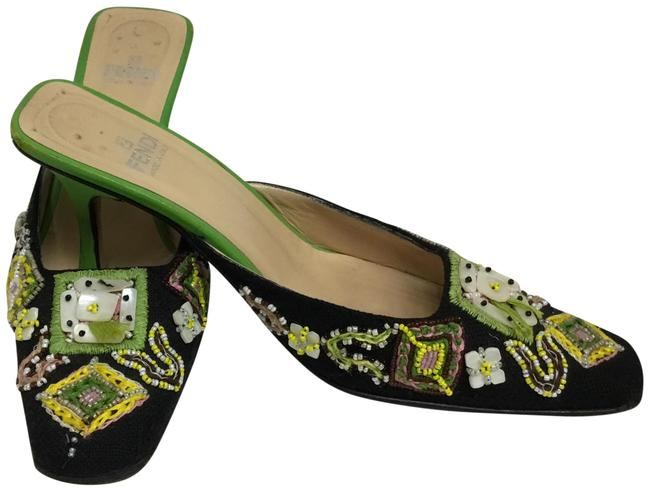 Item - Black Yellow and Green Embroidered Mules/Slides Size EU 38.5 (Approx. US 8.5) Regular (M, B)