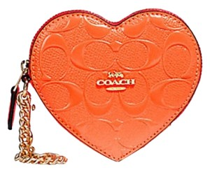 Coach Embossed Logo Patent Leather Heart Coin Case 39153