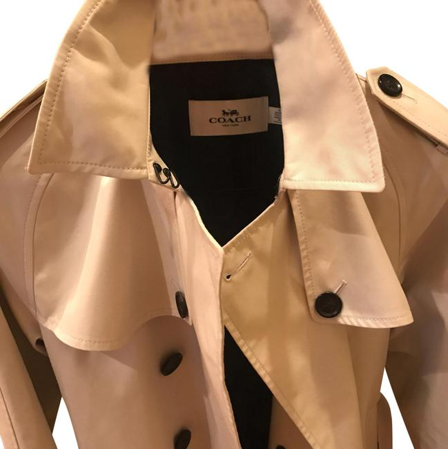 Item - Khaki Hip Length Fully Lined Cotton/Polyester with Leather Details Coat Size 8 (M)