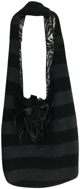 Alice + Olivia Embellished Knit & Matching Scarf Black and Gray Acrylic Chain Feather Hobo Bag Alice + Olivia Embellished Knit & Matching Scarf Black and Gray Acrylic Chain Feather Hobo Bag Image 1