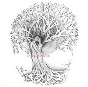 Black Gray Tree Of Love Romantic Art Print Of Lovers In A Other