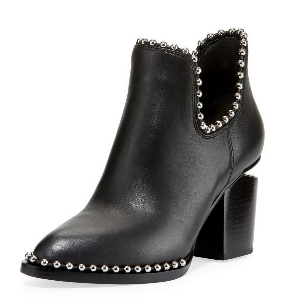 88a3d0100 Alexander Wang Black Gabi Leather Cut Out Heel Ankle (Studs) Boots/Booties