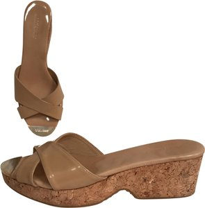 c15638d17a61 Jimmy Choo Wedge Patent Leather Platform Leather Cork Beige Sandals