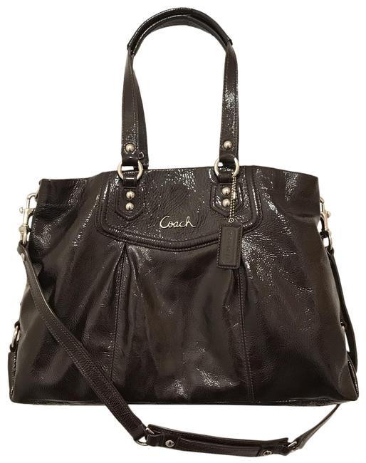 Item - Carryall Ashley F20464 Brown Silver Patent Leather Satchel