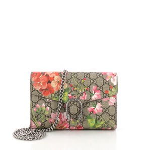 6a7722c6252a Gucci Chain Wallet Dionysus Blooms Print Gg Coated Small Pink Canvas Clutch