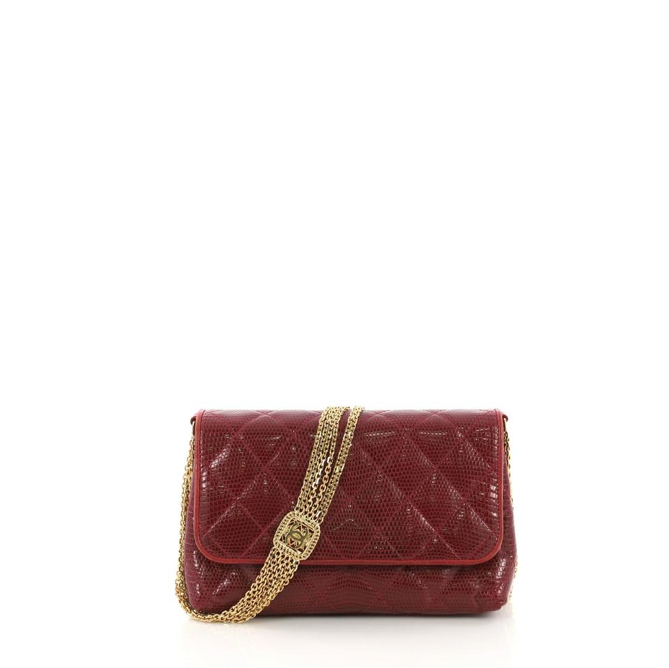 f19a2b08f95d Chanel Classic Flap Vintage Multi Chain Quilted Small Red Lizard ...
