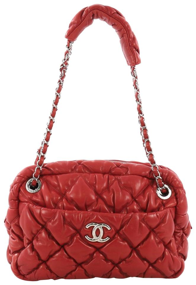 c95f8a666ac911 Chanel Camera Bubble Quilted Small Red Lambskin Leather Shoulder Bag ...