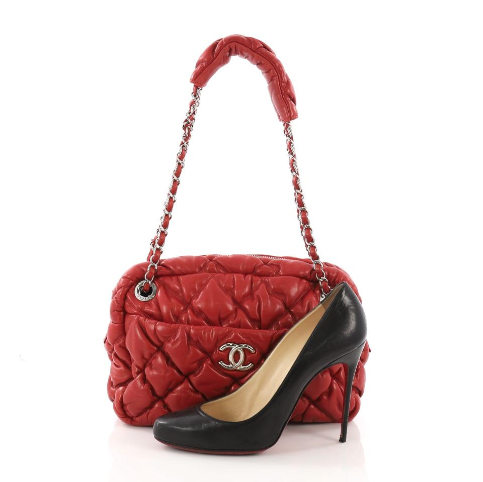 5b9f0e69d4dc Chanel Camera Bubble Quilted Small Red Lambskin Leather Shoulder Bag ...