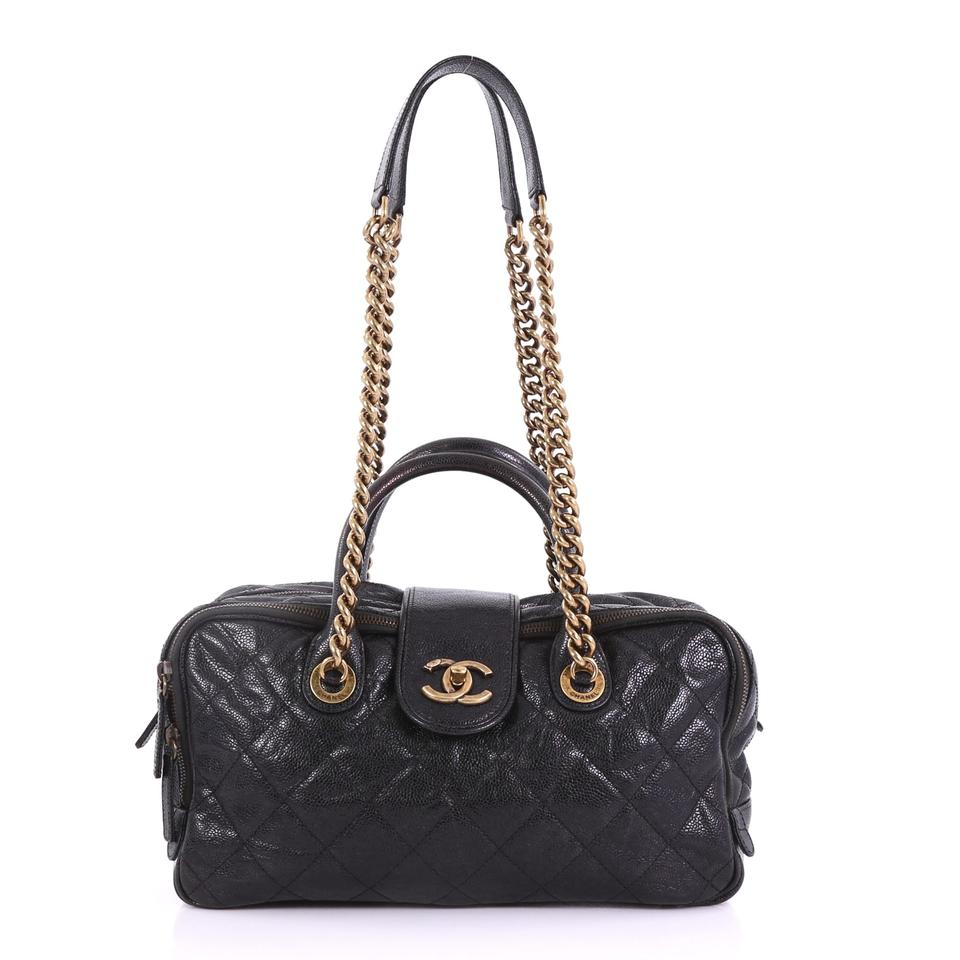 cbd036b8a173b1 Chanel Shiva Bowler Quilted Caviar Black Leather Shoulder Bag - Tradesy
