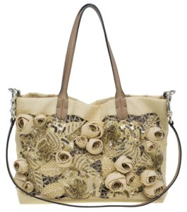 3d5279ce28b Valentino Camel Small Sequin Beaded Floral Applique Beige Canvas Tote