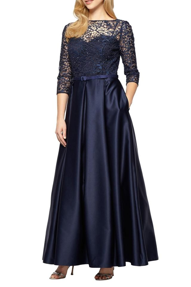 08900393b0bee Alex Evenings Navy Lace Sequin Gown Long Formal Dress Size 16 (XL ...