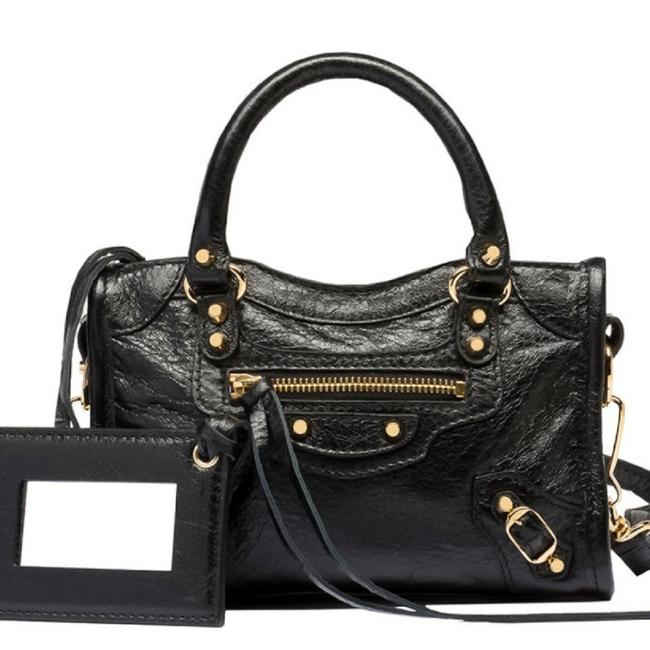 Item - Giant 12 City Black & Gold Hardware Lambskin Leather Tote