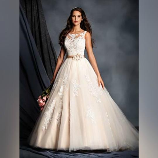 Alfred Angelo Style 205 Cinderella Size 10 Wedding Dress: Alfred Angelo Ivory/Champagne Beaded Lace Yoke Bridal Gown
