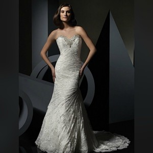 Alfred Angelo White/Silver The Juliet: Luxe Gown - Style 2396 Formal Wedding Dress Size 18 (XL, Plus 0x)
