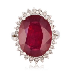 White Gold 10.67ct Ruby and 0.57ctw 14kt Diamond Ring