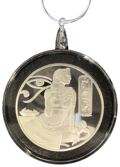 """Item - Multi-color Silver Ancient Egyptian Coin/Pendant 24"""" Ss Gift Bag Necklace"""