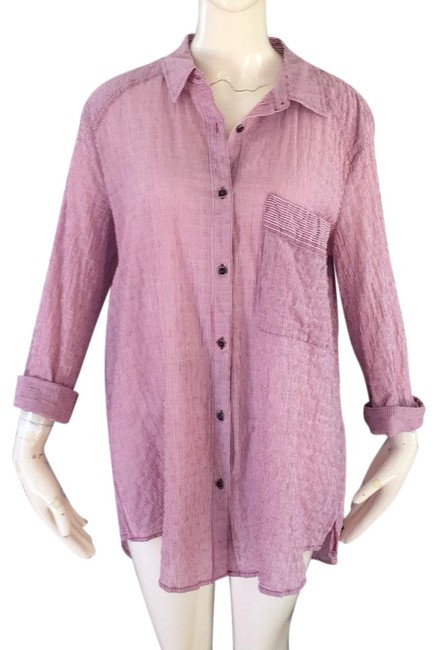 Free People Wine and Cream Button-down Top Size Petite 6 (S) Free People Wine and Cream Button-down Top Size Petite 6 (S) Image 1