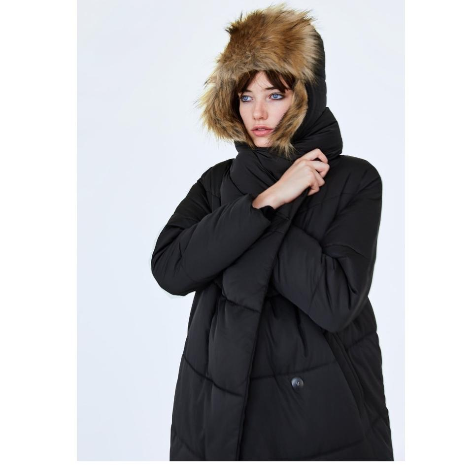 3a1f2c99 Zara Black New Puffer with Wrap Collar Coat Size 8 (M)