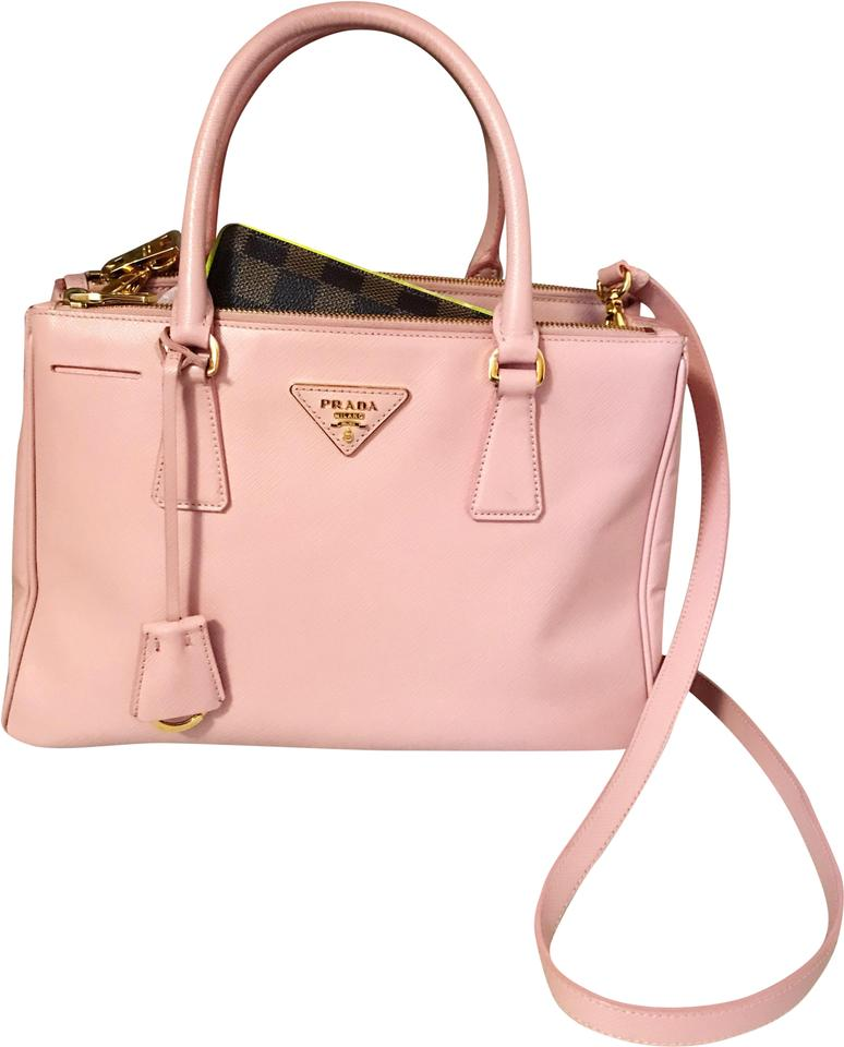 Prada Galleria Double Lux Rare Zip Orchidea Pink Saffiano Leather ... 12e7feb23b964