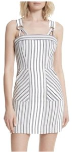 MILLY short dress Grey and White Striped Sundress Grommet Mini Tie Straps on Tradesy