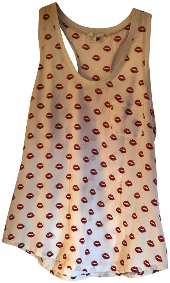 Joie Creme with Red Lips Alicia Print Silk (Valentines Day ) Tank ... cbf08a57d