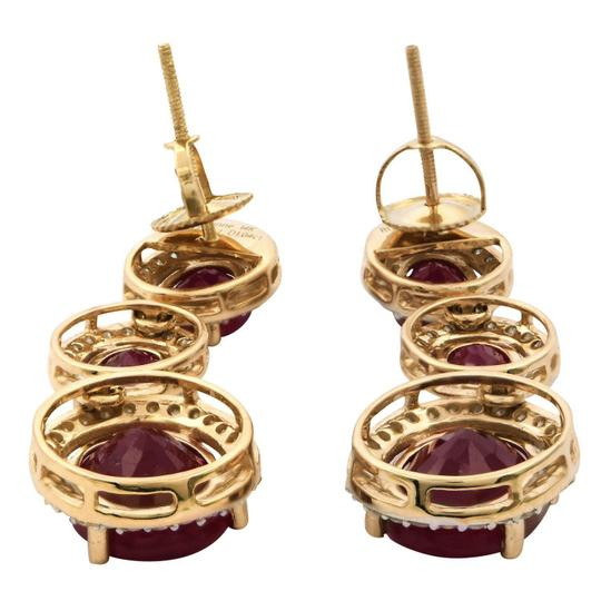 Yellow Gold 12.96ctw Ruby and 1.04ctw Diamond 14kt Dangle Earrings
