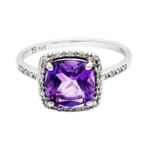 White Gold 2.14ct Amethyst and 0.10ctw Diamond 14kt Ring
