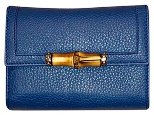 Gucci Gucci Bamboo Wallet in Blue Grain Calfskin Leather