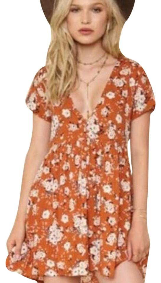 1072c3659b Spell & the Gypsy Collective Orange Floral Dancer Short Casual Dress Size 4  (S) 47% off retail