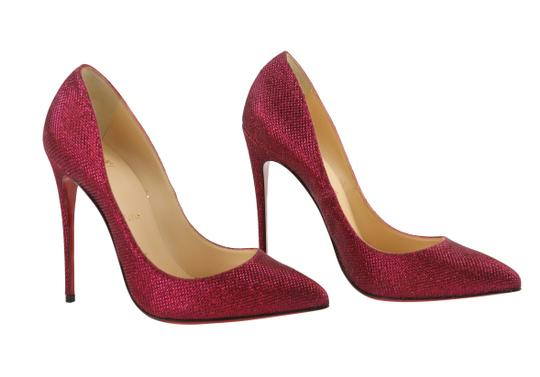 Christian Louboutin Woven Glitter Leather Stiletto Red Pumps Image 1