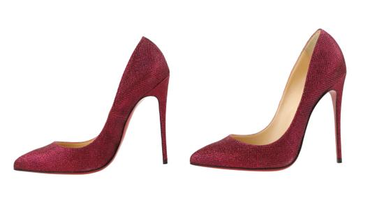 Christian Louboutin Woven Glitter Leather Stiletto Red Pumps Image 4