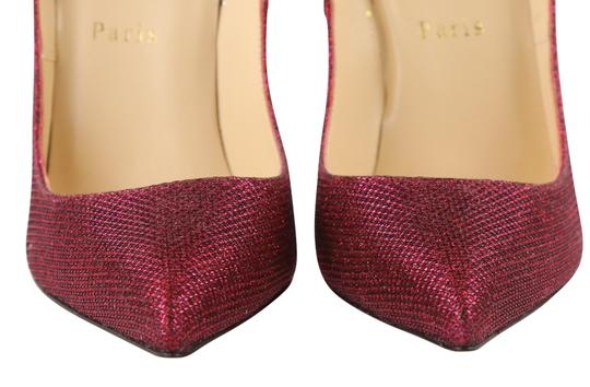 Christian Louboutin Woven Glitter Leather Stiletto Red Pumps Image 5