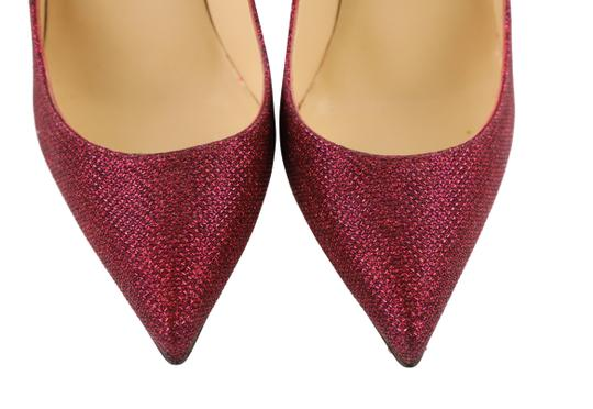 Christian Louboutin Woven Glitter Leather Stiletto Red Pumps Image 6