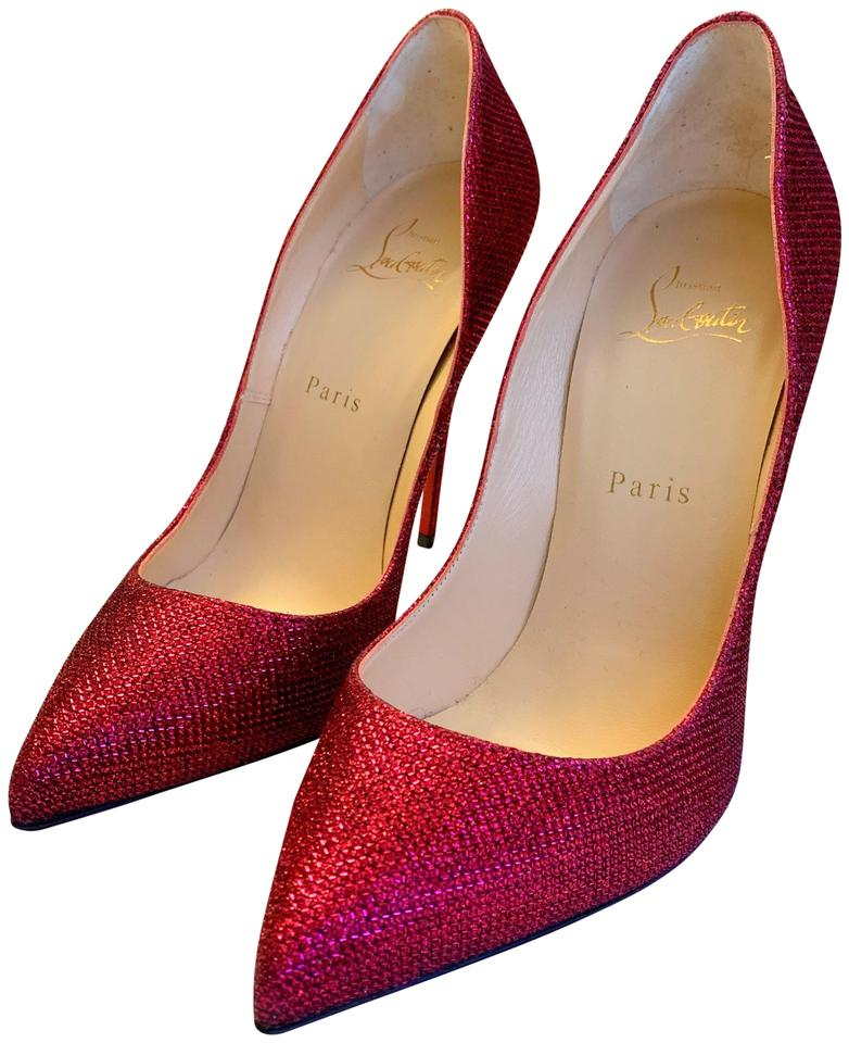 64e339896f0b Christian Louboutin Red Purple Pigalle Follies 120 Glitter Tisse. Pumps