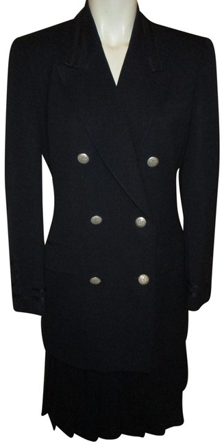 Item - Navy Wool Military Skirt Suit Size 4 (S)