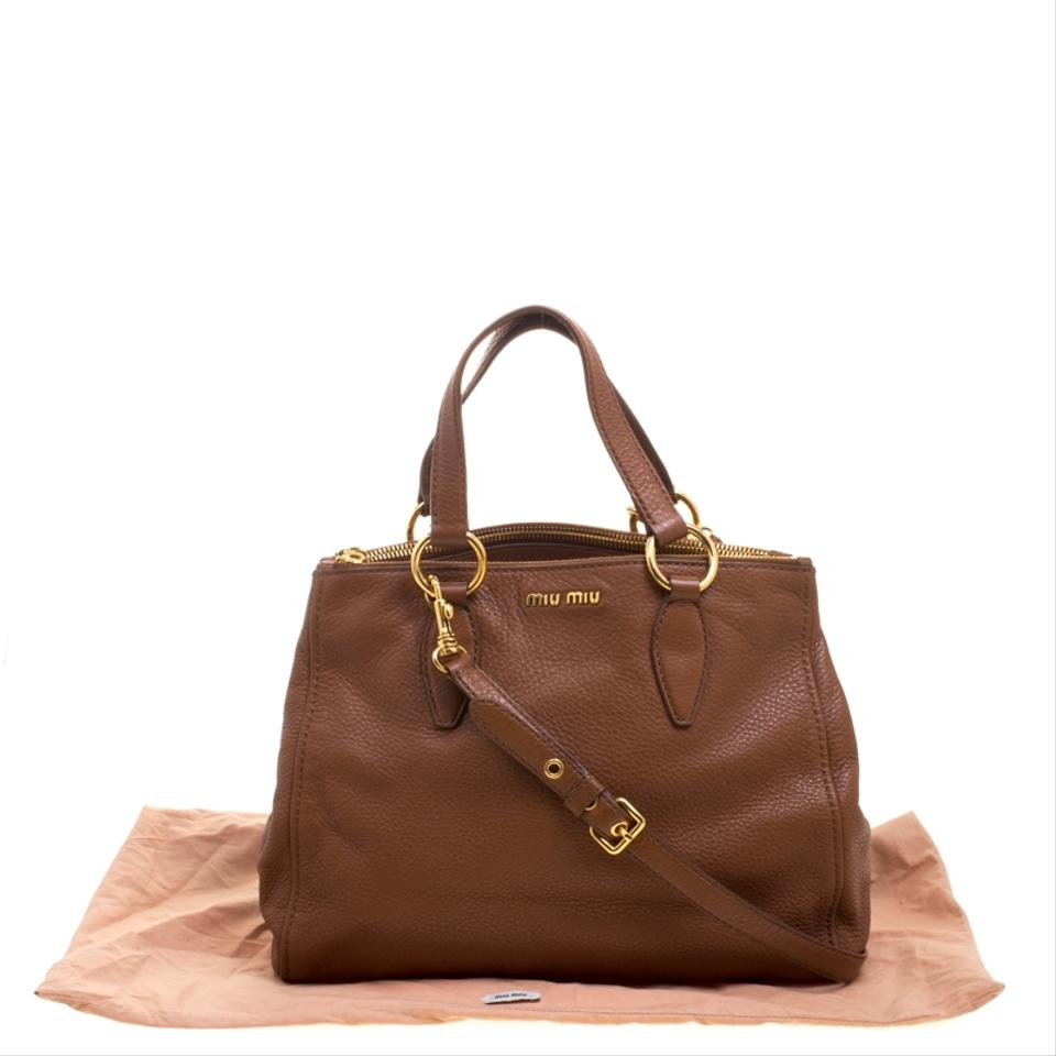 f66a56fb558 Miu Miu Pebbled Double Zip Convertible Brown Leather Tote - Tradesy