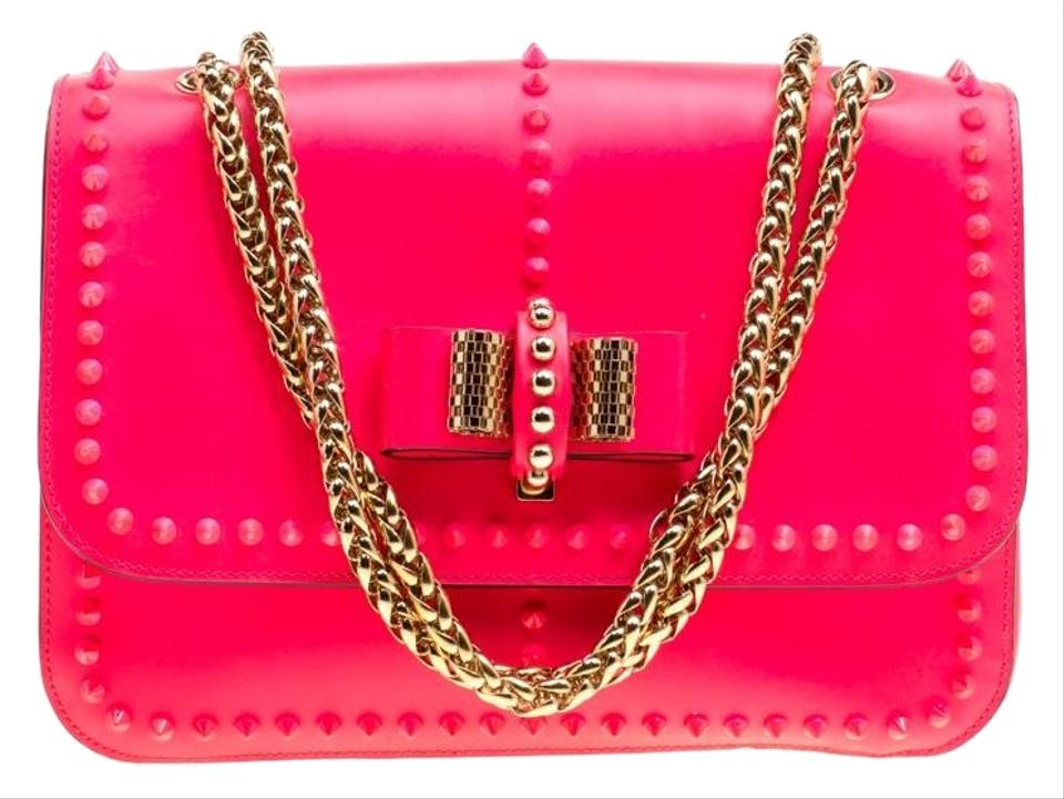 9ef2708a291 Christian Louboutin Matte Small Rockstud Sweet Chari Pink Leather and  Fabric Shoulder Bag 39% off retail