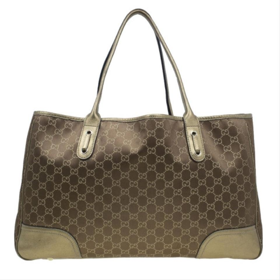 f27e9541e67 Gucci Metallic Princy Gold Canvas Tote - Tradesy