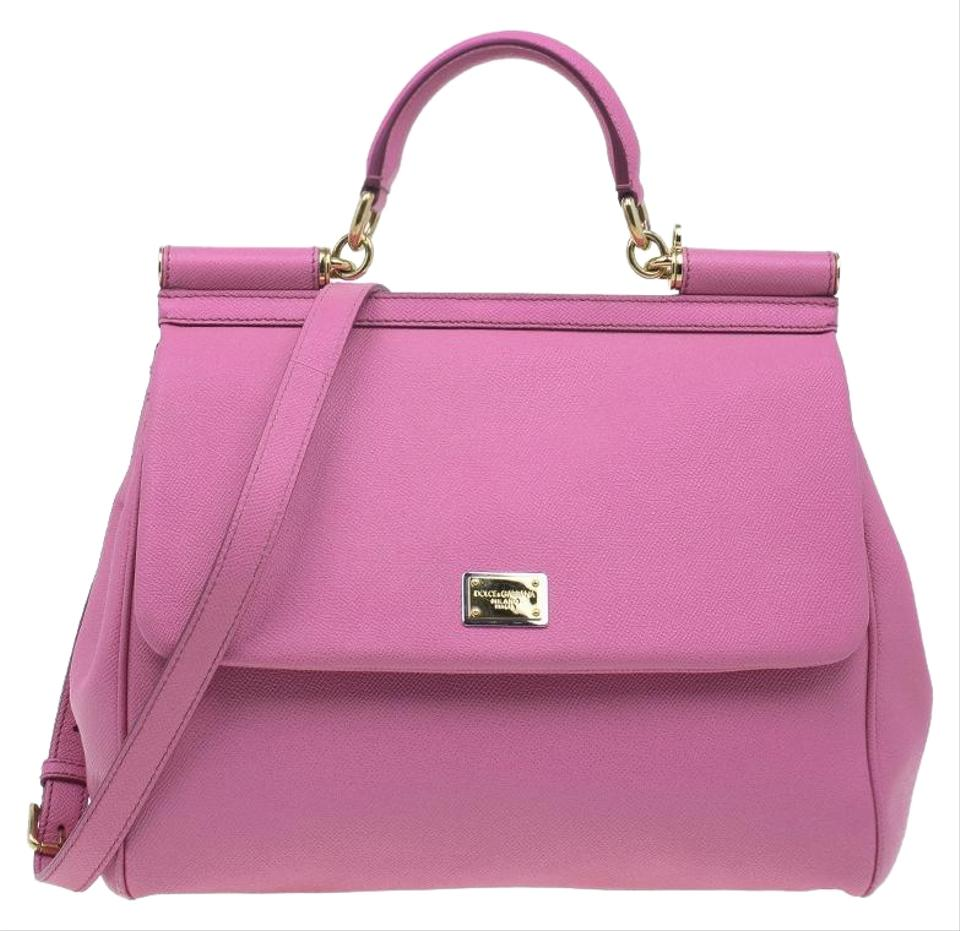 3147440e7e88 Dolce Gabbana Large Miss Sicily Pink Leather and Satin Tote - Tradesy