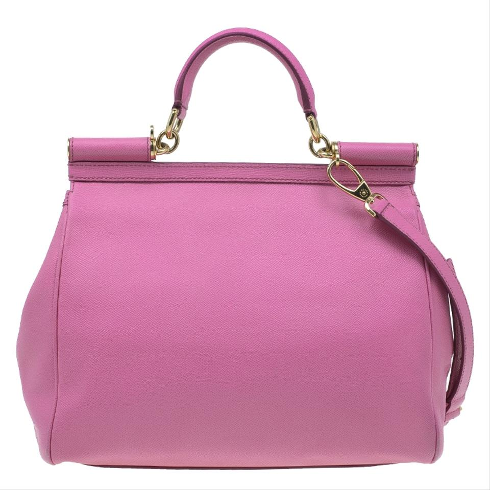Dolce Gabbana Large Miss Sicily Pink Leather and Satin Tote - Tradesy 5ec3d282decc6