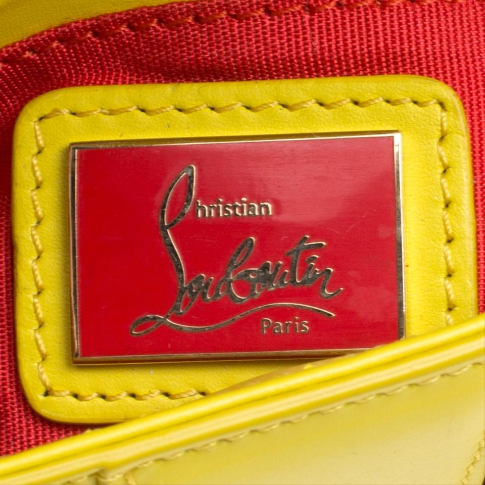 1e8b6ce9be5 Christian Louboutin Spiked Sweet Charity Yellow Leather and Fabric Cross  Body Bag 43% off retail